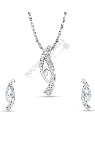 Silver-Tone Double Sword Pendant Set - Boutique4India Inc.