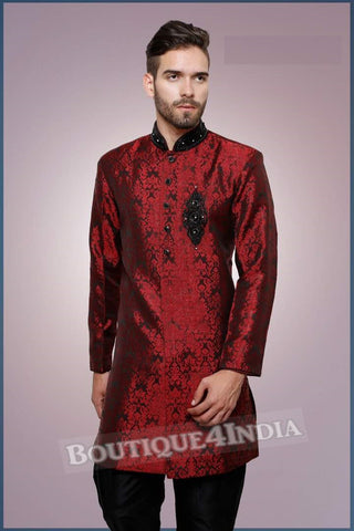 Men's - Royal Red and Black Kurta Set