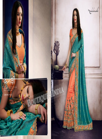 Turquoise Raw Silk Party Wear Heavy Embroidered Saree