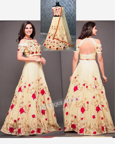 Beige taffeta silk party wear embroidery work lehenga