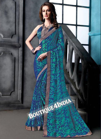 Blue Brasso Party Wear Zari Work Saree