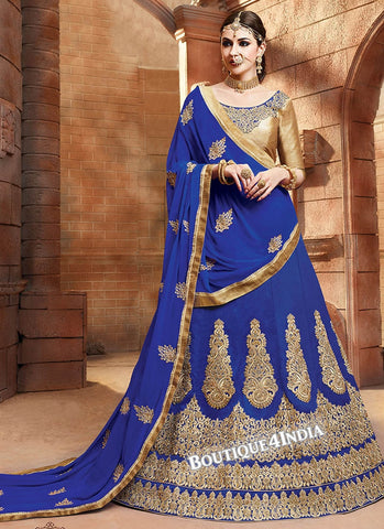 Blue Satin silk reception wear lehenga choli