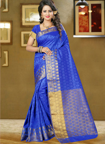 Blue Art Silk and zari work Saree