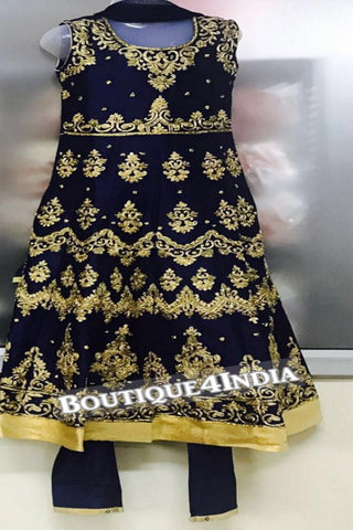 Girls Navy heavy embroidered stone work salwar suit