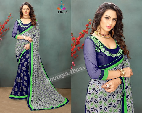 Navy and green Georgette party wear Saree