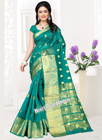 Green Banarasi silk zari work Saree