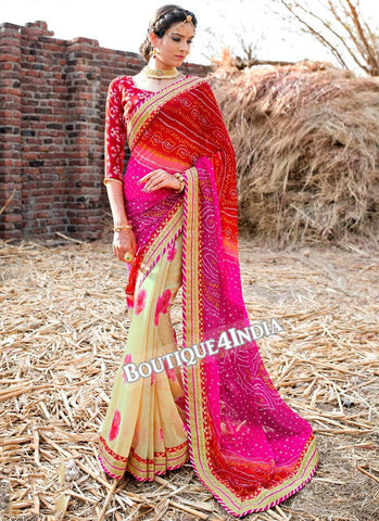 Pink and Peach Georgette Bandhani Print Saree