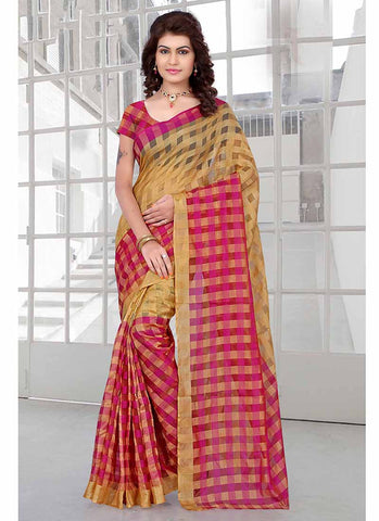 Pink and yellow checkered tissue printed Saree