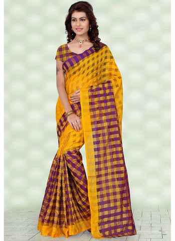 Purple and yellow checkered tissue printed Saree