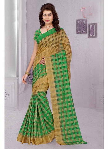 Green and yellow checkered tissue printed Saree