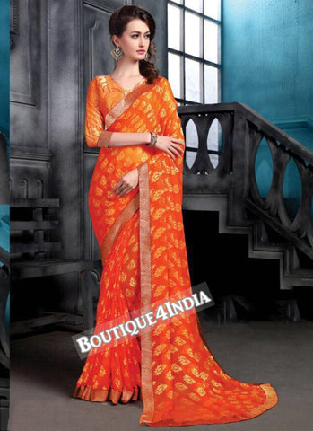 Orange Brasso Party Wear Zari Work Saree