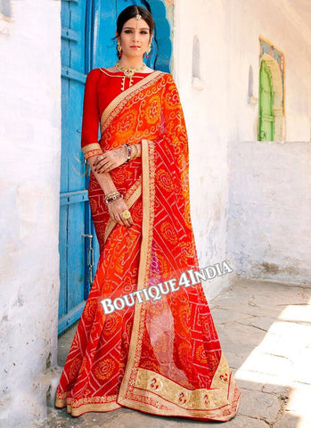 Orange and red Georgette Bandhani Print Saree