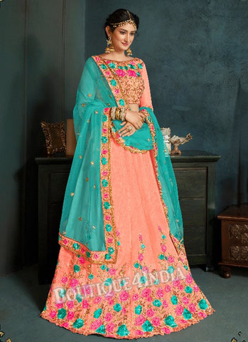 Peach Silk Bridal Embroidered Lehenga