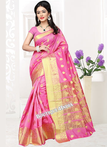 Pink Banarasi silk zari work Saree