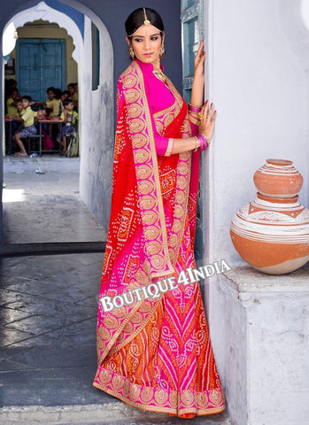 Orange and pink Georgette Bandhani Print Saree