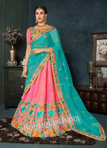 Baby Pink Silk Bridal Embroidered Lehenga