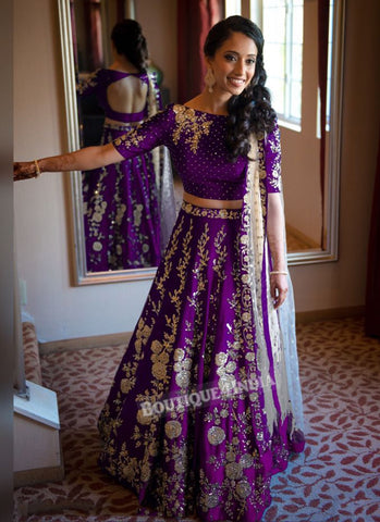 Purple taffeta silk lehenga choli