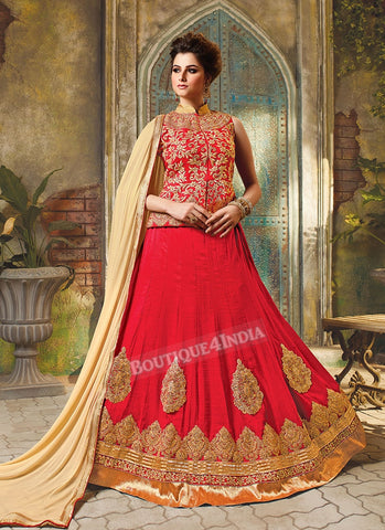 Red Silk heavy embroidered crop top style Lehenga