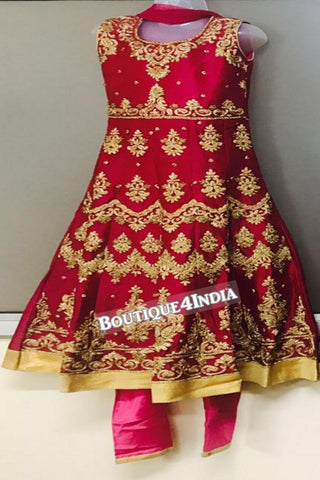 Girls Red heavy embroidered stone work salwar suit