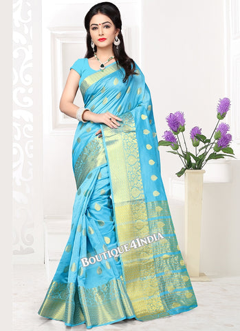 Sky blue  Banarasi silk zari work Saree
