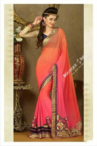 Sarees - Net and Chiffon with Orange, Pink and Purple - Boutique4India Inc.