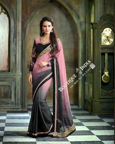 Sarees - Baby Pink, Black and Grey Embroidery and Net - Boutique4India Inc.