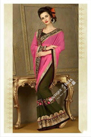 Sarees - Light Pink, Green and Golden Net and Chiffon - Boutique4India Inc.