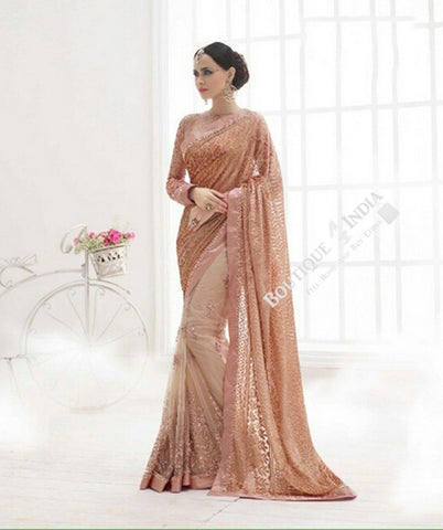 Sarees - Brownish Pink And Golden Bridal Collections - Resplendent Bridal Designer Wedding Special Collections / Wedding / Party / Special Occasions / Festival - Boutique4India Inc.