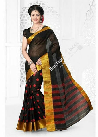 Cotton Silk Casual Saree in Black and Golden - Boutique4India Inc.