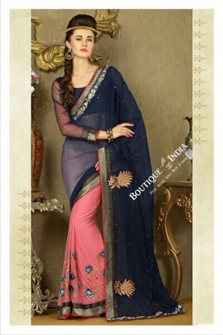 Sarees - Blue And Light Pink Net and Chiffon - Boutique4India Inc.