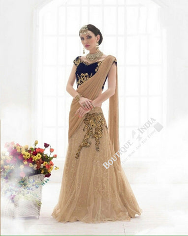 Sarees - Royal Blue And Golden Bridal Collections - Resplendent Bridal Designer Wedding Special Collections / Wedding / Party / Special Occasions / Festival - Boutique4India Inc.