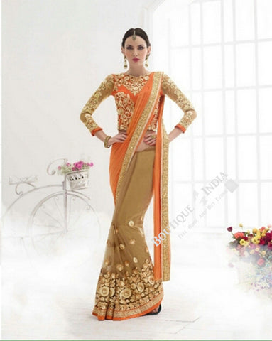 Sarees - Orange And Golden Bridal Collections - Resplendent Bridal Designer Wedding Special Collections / Wedding / Party / Special Occasions / Festival - Boutique4India Inc.
