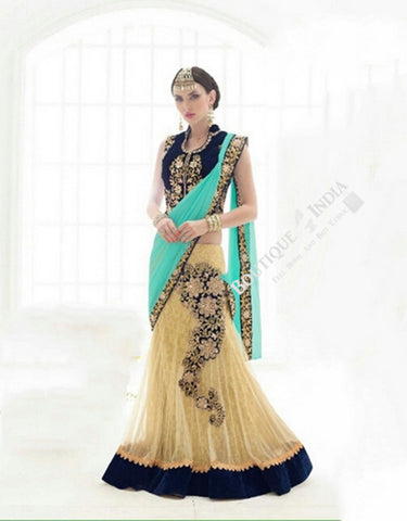 Sarees - Sky Blue, Royal Blue And Golden Bridal Collections - Resplendent Bridal Designer Wedding Special Collections / Wedding / Party / Special Occasions / Festival - Boutique4India Inc.