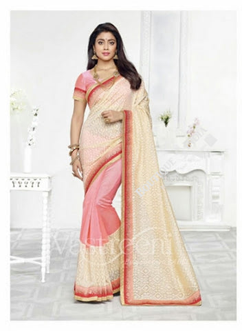 Chiffon Silk and Net Embroidered Saree in Pink and Cream/ Half White - Boutique4India Inc.