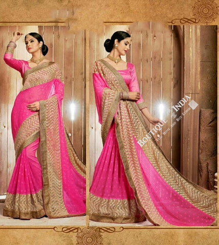 Sarees - Elegant Pink Net and Chiffon Embroided - Boutique4India Inc.