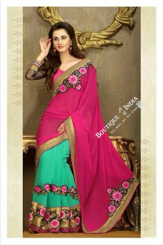 Sarees - Net and Chiffon with Pink Blue And Golden - Boutique4India Inc.