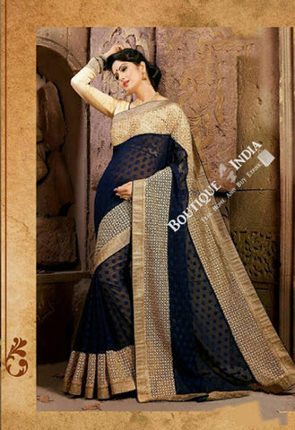 Sarees - Navy Blue Net Unique Design Party Wear Collections - Boutique4India Inc.