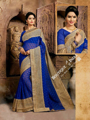 Sarees - Dark Blue Net and Chiffon Unique Design - Boutique4India Inc.