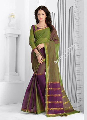 Trendy Cotton Silk Saree in Green and Purple - Boutique4India Inc.