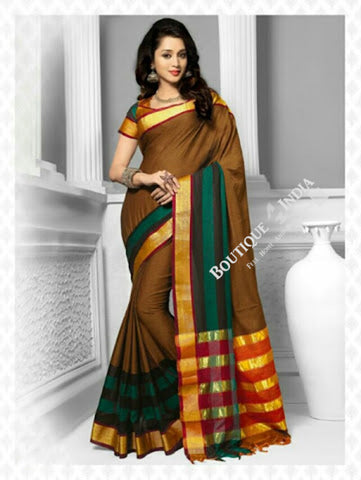 Cotton Silk Casual Saree in Green, Red and Golden - Boutique4India Inc.