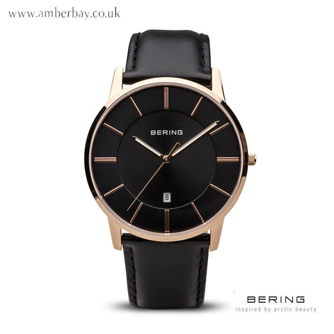 Bering Classic Polished Rose Gold Leather Strap Watch 13139-466