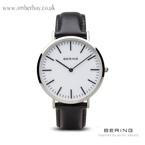 Bering Gents Classic Polished Silver Leather Strap Watch 13738-404