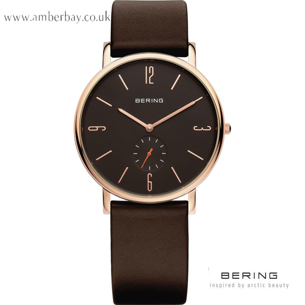 Bering Classic Gents Leather Strap Watch 13739-562