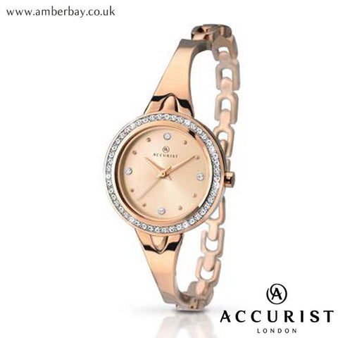 Ladies Rose Gold Semi Bangle Dress Accurist Watch 8011 at Amber Bay