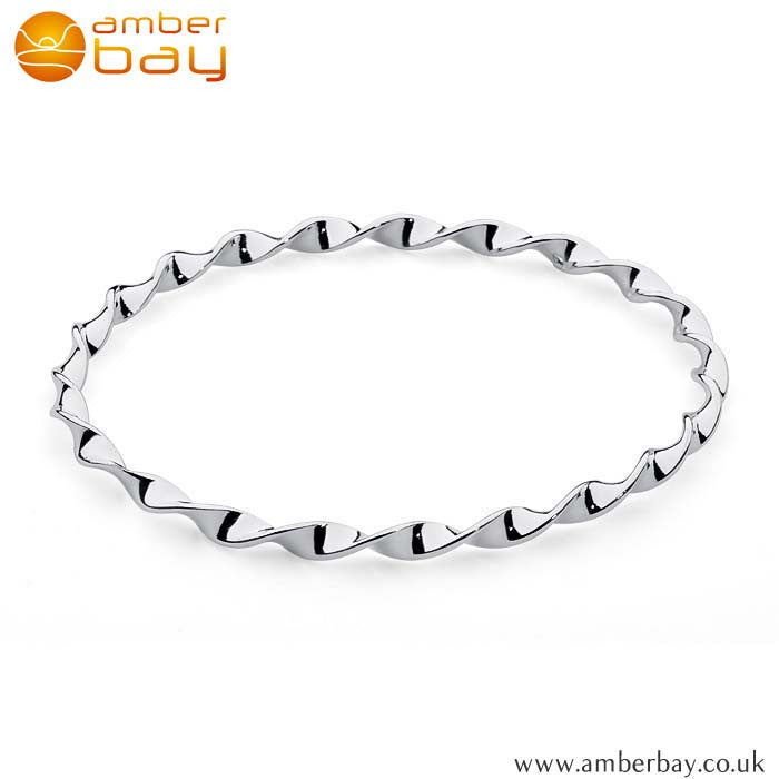 Silver Twisted Bangle Aj48 at Amber Bay
