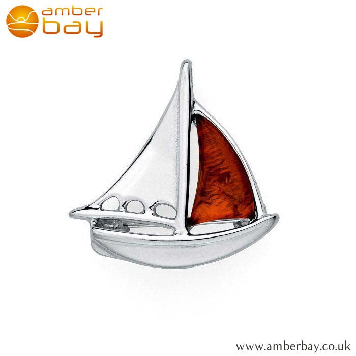 Silver and Cognac Amber Boat Brooch BCH217 at Amber Bay