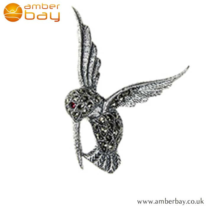 Sterling Silver and Marcasite Humming Bird Brooch at Amber Bay