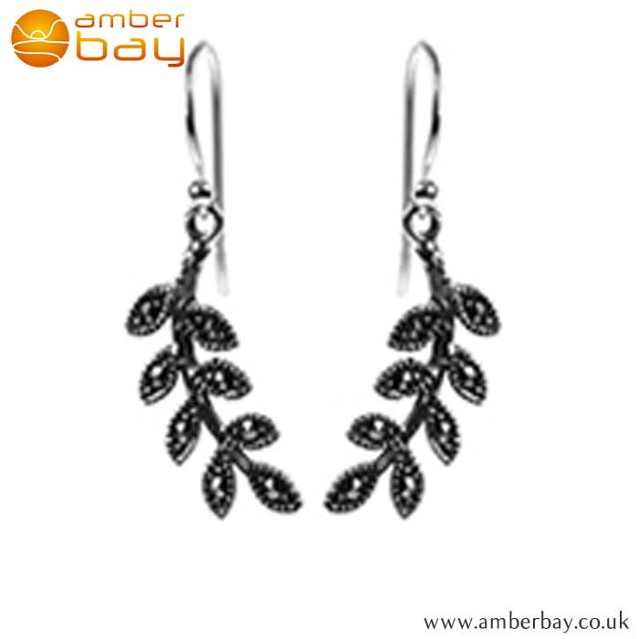 Sterling Silver and Marcasite Leaf Drop Earrings E860MR at Amber Bay