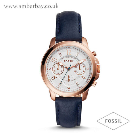 Fossil ES4040 Ladies Gwynn Chronograph Navy Leather Strap Watch