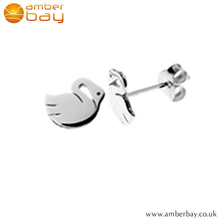 Sterling Silver Swan Studs S668SIL at Amber Bay